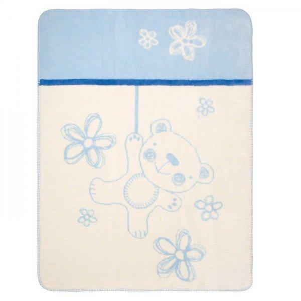 Baby Matex Памучно детско одеяло Teddy синьо 75/100